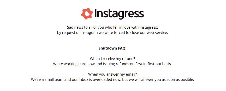 Instagress.com beendet seinen Service